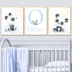 Moon and Stars - Nursery art decor baby boy Nursery print Canvas Wall Decor Letter Initial prints-Letter Personalised panda Kids set of 3 by irinnadesign on Etsy