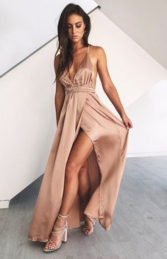 Sexy V-Neck Long Prom Dress,Spaghetti Straps Evening Dress,Side Slit Prom Dress,Evening Gowns - Prom clothes Pretty Dresses, Sexy Dresses, Awesome Dresses, Dresses Uk, Dresses Online, Bridal Dresses, Vintage Dresses, Beautiful Dresses, Casual Dresses