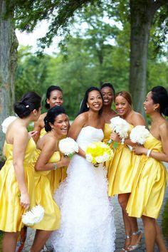 Green and Yellow and Gray Bridesmaid Dresses