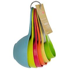 These eco-friendly Purelast Measuring Cups come with 6 different handled measuring cups ranging from 1/4 cup to 1 cup. Each colorful cup is made of durable recycled materials from bamboo plant fibers.