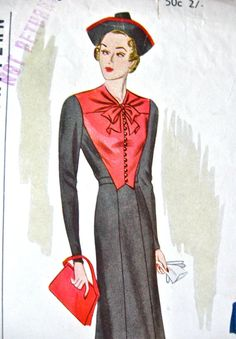 UNcut 1930s Pictorial Review Printed pattern 9145  by Fancywork ~ <3 the long-sleeved Frock on the left