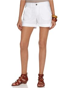 INC International Concepts Shorts, Curvy Fit Cuffed Utility - Womens Shorts - Purchased in both black and white - $44.50