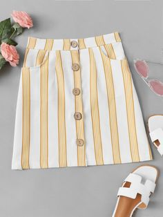 Shop Striped Button Through Skirt online. SheIn offers Striped Button Through Skirt & more to fit your fashionable needs. Dressy Casual Outfits, Cute Comfy Outfits, Cute Fall Outfits, Cute Outfits For Kids, Chic Outfits, Girl Outfits, Fashion Outfits, Korean Skirt Outfits, Baby Girl Patterns