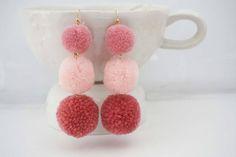 Pink Ombre Pom Pom Statement Earrings