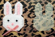 Plastic Canvas Bunny Face Magnet with Cut Out to make your own by AdelesCrafts on Etsy https://www.etsy.com/listing/221069760/plastic-canvas-bunny-face-magnet-with
