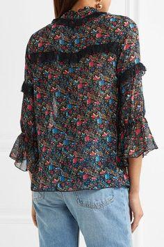 Anna Sui - Lace-trimmed Floral-print Silk-chiffon Blouse - Black