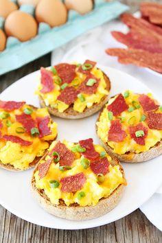 English Muffin Breakfast Pizzas - Twopeasandtheirpod