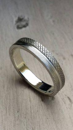 Edelstahl Damaskus & Silber oder GOLD 4mm stapelbar Ring (anpassbar)