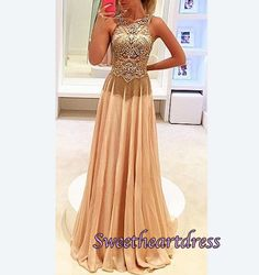 Beaded Champagne chiffon long Prom Dress for teens, Evening Dress 2016, modest prom dress with beautiful top details #coniefox