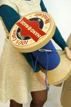 Thread Reel wooden stool. Fun idea for decorating a sewing studio.
