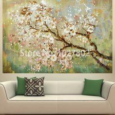 Pintados À mão Moderna Bela Flor Na Pintura A Óleo Da Árvore Casa Decoração Sala Wall Art Picture On Canvas Cuadros