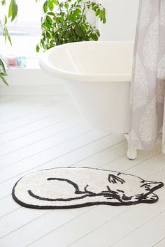 Plum & Bow Sleeping Cat Bath Mat - Urban Outfitters
