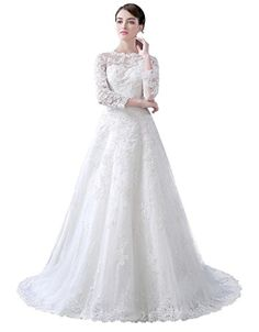 Yudear Womens ALine 34 Sleeves Covered Buttons Bridal Dresses US 16 Ivory -- Click image to review more details.