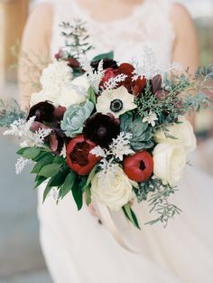 Bold berry and red with a pop of anemone wedding bouquet: Photography: Winsome and Wright - http://winsomeandwright.com/