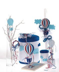 Βάπτιση με θέμα αερόστατο - Ε λ ί σ τ η Hot Air Balloon, Balloon Party, Pinwheels, Kite, Boy Birthday, Christening, Balloons, Candles, Artwork