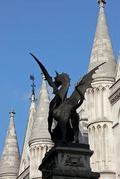 Dragon statue at Temple Bar, London. Fascinating history at http://en.wikipedia.org/wiki/Temple_Bar,_London