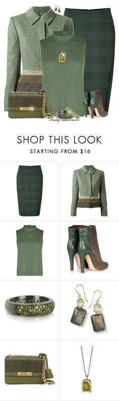 """Greens"" by honkytonkdancer ❤ liked on Polyvore featuring rag & bone, Jean-Louis Scherrer, Boohoo, Malone Souliers, Azhar, Ippolita, Moschino, fallfashion and shadesofgreen"
