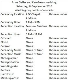 Wedding Day Timeline Example Give To Everyone Involved So