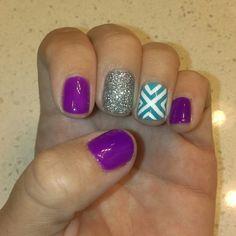 Neon purple gelish, silver glitter, turquoise gelish and white crisscross