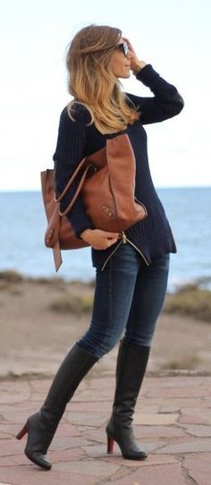 #winter #fashion / knit + denim