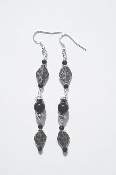 3 inch long silver plated metal and black glass beads