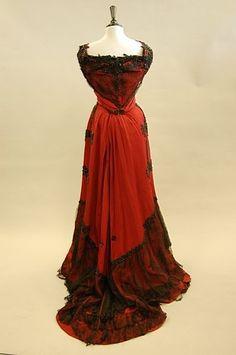 A burgundy silk faille ball gown, circa 1890 by johanna