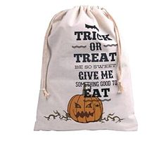 Halloween Trick or Treat Bags 5 Piece Lot of #2- Trick or Treat Pumpkin, Drawstring Halloween Canvas Trick Or Treat Bag to DIY Personalize