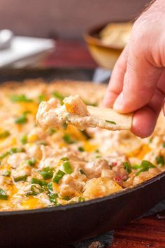 Easy Baked Shrimp Dip made in a cast iron skillet.