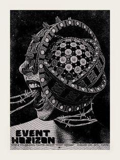 Artist Chris Garofalo's movie poster of Event Horizon Marvel Movie Posters, Horror Movie Posters, Movie Poster Art, Horror Movies, Event Horizon Film, Science Fiction, Pop Art, Jurassic, Arte Cyberpunk