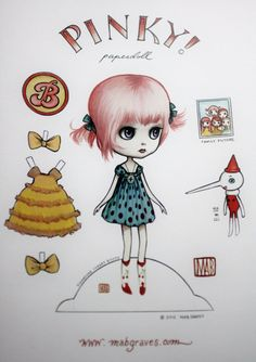 Pinky Paperdoll - Full Color Blythe paper art doll - by Mab Graves. $6.00, via Etsy.