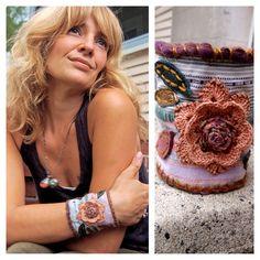 Eco Cuff BRACELET, repurposed fabric,crocheted flower, leather leaves applique, hemp,wool, pastel mix by Zasra