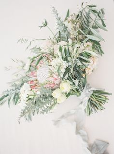 Watercolor and greenery wedding bouquet