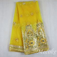 2017 African Net cord Lace High Quality French Sequins lace Fabric Embroidery yellow swiss lace fabric for nigerian lace fabric