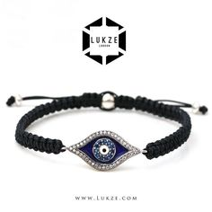 Stylish, interesting and modern bracelet featuring a Macramé hand weaved strap & Evil Eye medal. Easy to wear and match with our similar styles or simply with a silver watch. Evil Eye made from 925 Sterling Silver with Cubic Zirconia Diamonds. - Simple Elegance | Lukze.com - #Lukze #London #luxury #handmade #jewellery #jewelry #mensstyle #mensstyle #menswear #menstyle #fashion #style #ootd #exclusive #evileye #silver #diamond #bracelet