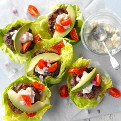 California Burger Wraps Recipe -I love the way these fresh flavors blend together. It's a snap to throw this together using leftover burgers for a quick, healthy lunch. The burgers can also be served on buns. Healthy Dinner Options, Low Carb Dinner Recipes, Cooking Recipes, Healthy Recipes, Healthy Dinners, Weeknight Recipes, Veg Recipes, Delicious Recipes, Healthy Foods