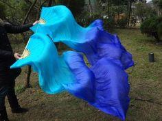 Real Silk Fan Veil For Belly Dance Thicker Silk Veil Fan Light Blue & Dark Blue-in Belly Dancing from Apparel & Accessories on Aliexpress.co...