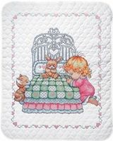 Bedtime Prayer Girl Quilt Stamped Cross Stitch Kit