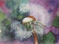 Fleur de pissenlit - Aquarelle - Painting, Art, Water Colors, Art Background, Painting Art, Kunst, Paintings, Performing Arts, Painted Canvas