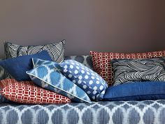 Jane Churchill Fabrics & Wallpapers Love the Denim Blues with pops of red....