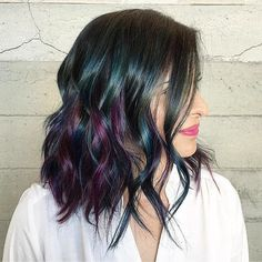 #shoutoutsunday Peacock Color design by @masey.cheveux Love the edgy lob cut and style too  #Hotonbeauty