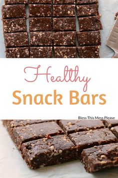 These Easy Homemade Snack Bars are healthy and taste amazing! They taste like Almond Joy bars and are perfect for school lunches or afternoon snacking. Protein Snacks, Healthy Snack Bars, Healthy Treats, Protein Bars, Healthy Eating, Healthy Cookies, Vegan Snacks, Yummy Snacks, Healthy Food