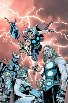 Thors #1 | Beta Ray Bill | Thor Odinson | Jane Foster aka Thor | Odin | Asgardian Storm | Throg the frog of Thunder... by Chris Sprouse *