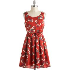 ModCloth Mid-length Sleeveless A-line Flower Couple Dress ($24) ❤ liked on Polyvore featuring dresses, apparel, red, embellished dresses, flower print dress, red rose dress, flower dress and pleated dress