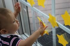 Sticky Stars  This activity is so simple, but your baby will love it. With star post-it's let baby pull down and put up the stars.