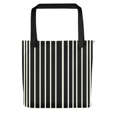 Only Black Off White Stripes Tote Bag. The ONLY is a collection of beautiful, minimalistic yet striking single colored tote bags. Striped Tote Bags, Black Tote Bag, Purses And Handbags, Women's Accessories, Off White, Stripes, Colorful, Gray, Collection