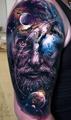 Jaw-Dropping Face Morph Tattoos By Arlo DiCristina - Creative - Tatuagem Epic Tattoo, Badass Tattoos, Up Tattoos, Skull Tattoos, Body Art Tattoos, Cool Tattoos, Galaxy Tattoos, Space Tattoos, Space Tattoo Sleeve
