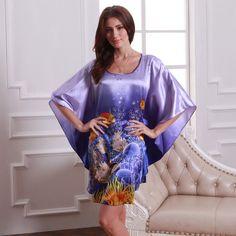 2014 Blue Purple Butterfly Sleeves Female Nightgown Printed,Large Size Graceful Ladies's Silk Nightdress,Women Silk Nightwear