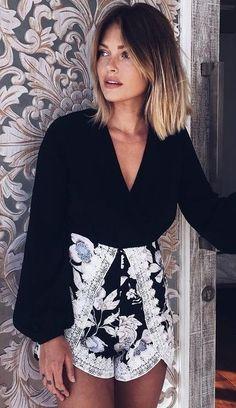 #summer #trending #outfits | Black Top + Floral Shorts Balayage Hair, Hair Looks, Short Hair Styles, Bodysuit, Bob Styles, Onesie, Short Haircuts, Style Of Hair, Short Length Haircuts