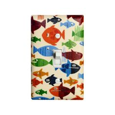 Under the Sea Light Switch Plate Cover / Nautical Pirate Fish Nursery Decor / Boys Room Bathroom / Navy Blue. $16.00, via Etsy.