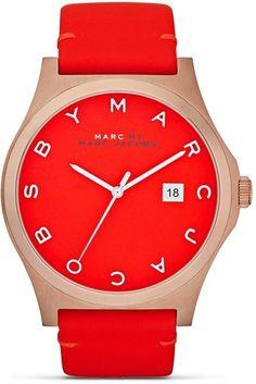 Montre pour femme : Marc By Marc Jacobs Pink Leather Strap Pop Color Watch 43mm